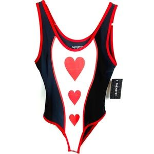 ❤️ NWT Chemistry Black & Red Hearts Bodysuit Top